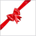 Red bow with diagonally ribbon beautiful Stock Photography