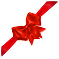 Red bow with diagonally ribbon beautiful shadow Royalty Free Stock Photography