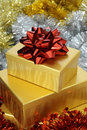 Red Bow on Gold Box Stock Images