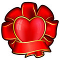 Red bow with heart and ribbon Stock Photos