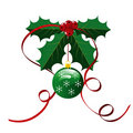 Red Bow with Holly Leaves Christmas Background Royalty Free Stock Photo