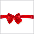 Red bow with horizontal ribbon beautiful Royalty Free Stock Photography