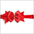 Red bow with horizontal ribbon beautiful Stock Photo