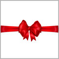 Red bow with horizontal ribbons of wide ribbon Stock Photos