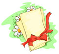 Red bow and memo Royalty Free Stock Photography