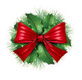 Red bow with pine circle decoration Royalty Free Stock Photos