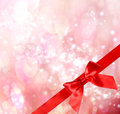 Red Bow and Ribbon with Bokeh Lights Stock Photos