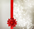 Red Bow and Ribbon with Silver Lights Royalty Free Stock Images