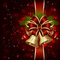 Red bow and shiny bells background with christmas tree illustration Royalty Free Stock Photos