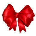 Red bow of wide ribbon with shadow Stock Image