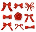 Red bows with single  double  multiple loops realistic set. Ribbons wide  thin for holiday gifts Royalty Free Stock Photo