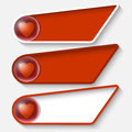 Red boxes for any text and heart set of three Royalty Free Stock Photography