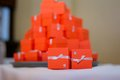 Red boxes for guest attending the wedding Stock Image