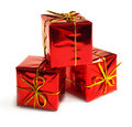 Red boxes with presents Stock Photo