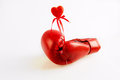 Red boxing gloves with a heart on a white background Royalty Free Stock Photography