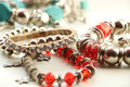 Red bracelets Royalty Free Stock Photo