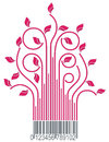 Red branches with barcode Stock Image