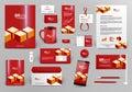 Red branding design kit with bricks