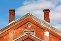 Red brick building old industrial with two chimneys Royalty Free Stock Photos