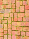 Red Brick Pattern on the Sidewalk Royalty Free Stock Photo