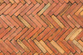 Red brick pavement surface of or walkway made of tiling Royalty Free Stock Photos