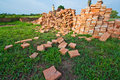Red brick piles Stock Images