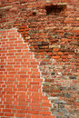 Red brick wal with old and new bricks Royalty Free Stock Photos