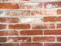 Red brick wall background close up of old Royalty Free Stock Photos
