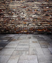Red Brick Wall With Concrete