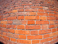 Red brick wall with distortion lens and wide angle fisheye view Stock Photography