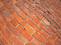 Red brick wall with distortion lens and wide angle fisheye view Royalty Free Stock Photography