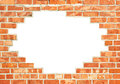 Red brick wall with gap Royalty Free Stock Photo