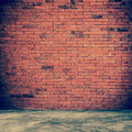 Red brick wall and room interior with floor concrete vintage Royalty Free Stock Photo