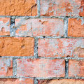 Red brick wall texture macro closeup, old aged detailed rough grunge cracked textured bricks copy space background, grungy Royalty Free Stock Photo