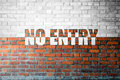 Red Brick wall texture with a word No Entry Royalty Free Stock Photo
