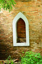 Red brick wall with window old Stock Images