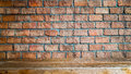 Red brick wall and wood floor background ,room interior vintage Royalty Free Stock Photo