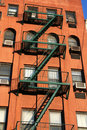 Red Bricks and Fire escape in New York Royalty Free Stock Photography