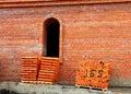 Red bricks on a pallets
