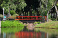 Red bridge in Chinese Garden Royalty Free Stock Photo