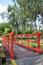 Red bridge in Chinese Garden Royalty Free Stock Photo