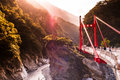 Red bridge, River and mountain at Toroko Gorge, Hualien, Taiwan