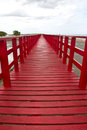 Red bridge sea in bangkok Royalty Free Stock Photo