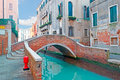 Red bridge small in venice made with bricks Stock Images