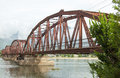 Red bridge for the train in Da Nang Royalty Free Stock Photo