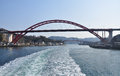 Red bridges japanese inland sea between the mainland and the kurahashi island in the japan Stock Photography