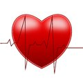 Red bright heart and cardiogram on a white background Royalty Free Stock Image