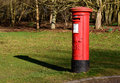 Red, British Royal Mail post box in the grounds of Newstead Abbey Royalty Free Stock Photo