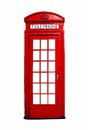 Red british telephone booth isolated on white iconic a background Royalty Free Stock Photos