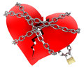 Red Broken Heart, wrapped in chain Royalty Free Stock Photo